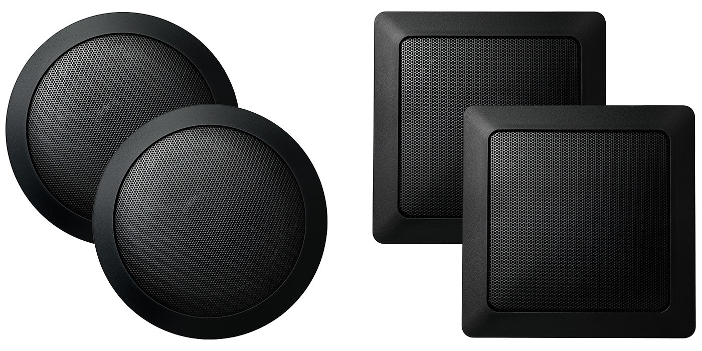 In-Shower Speakers Round and Square Black