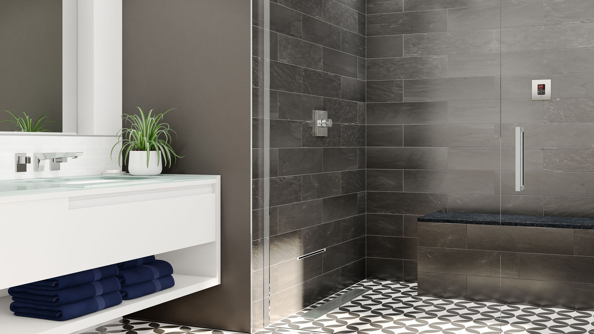 iTempo Steam Shower with Linear Steam Head